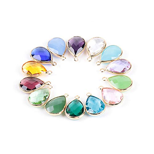 Women Necklace Pendant Water Tear Drop Faceted Cutting Bezel Setting Glass Crystal Jewelry Beads 10 Pcs