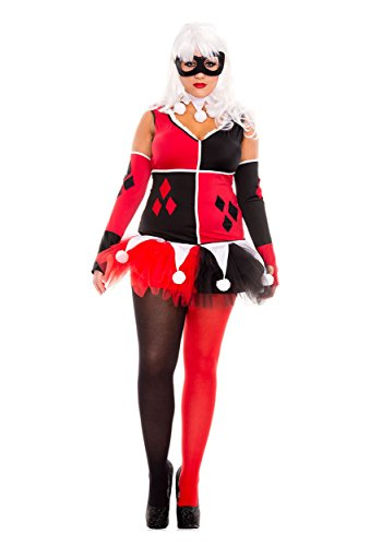 Harlequin Plus Size Costumes (Harley Jester Adult Costume - Plus Size 3X/4X)