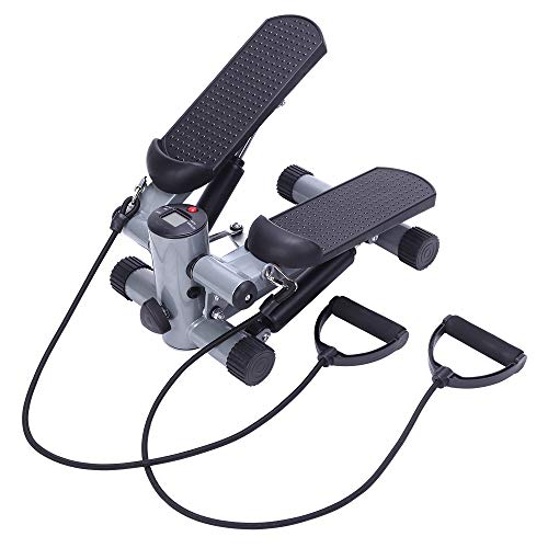 SSLine Mini Step Machine Fitness Air Stair Stepper Exercise Climbing Cardio Foot Pedal Stepper with Resistance Bands and LCD Monitor Home Office Use Mini Stairmaster