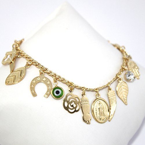 Fine Jewelry Paradise Gold Filled Anklet Bracelet Lucky Charms 9.5 inches Length Evil Eye Protection and Good Luck Amulet Foot Ankle by Fine Jewelry Paradise (Image #1)