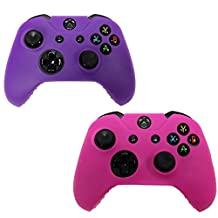 HDE 2 Pack Protective Silicone Gel Rubber Grip Skin Cover for Xbox One Wireless Gaming Controllers (Pink + Purple)