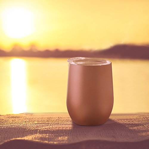 Skylety 12 oz Double-insulated Stemless Glass, Stainless Steel Tumbler Cup with Lids for Wine, Coffee, Drinks, Champagne, Cocktails, 2 Sets (Rose Gold) by Skylety (Image #2)