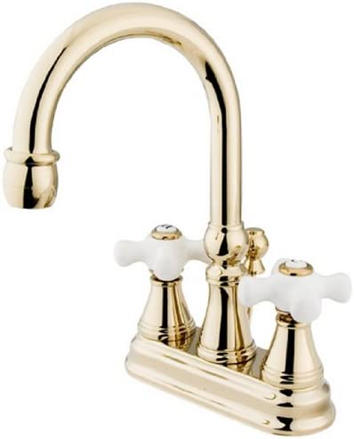 B000F66WV0 Kingston Brass KS2612PX Governor 4-Inch Centerset Lavatory Faucet with Brass Pop-Up and Porcelain Cross Handle, Polished Brass 41Njq9ChDhL