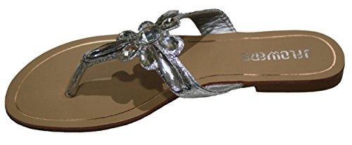 Damen Sandalen, Zehentrenner mit Straß, Flacher Absatz, gold, silber, schwarz, 36, 37, 38, 39, 40. Silber