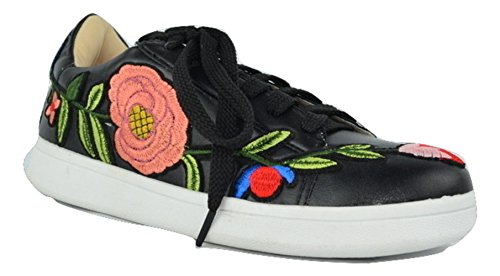 Chase & Chloe CC01 Lace Up Patch Sneaker Black nHWw6Kw8C
