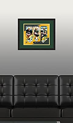 "NFL Green Bay Packers Bart Starr, Brett Favre and Aaron Rodgers, Beautifully Framed and Double Matted, 18"" x 22"" Sports Photograph"