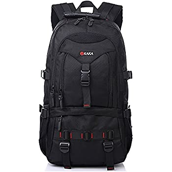 KAKA Terylene Fabric Backpack for 17-Inch Laptops - Black