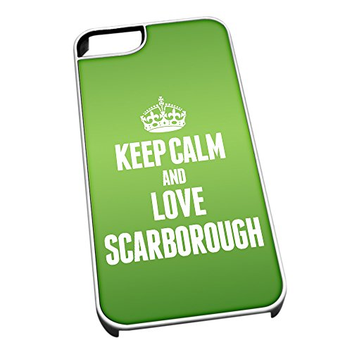 Bianco Cover per iPhone 5/5S Verde 0555 Keep Calm And Love Scarborough