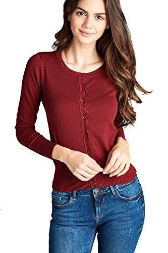 0dde513d6d Hollywood Star Fashion Women s Long Sleeves Crewneck Button up Lightweight  Cardigan Sweater