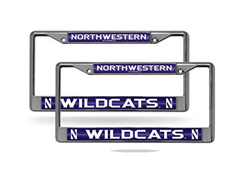 Rico Northwestern Wildcats NCAA?Glitter Bling Chrome (2) License Plate Frame Set