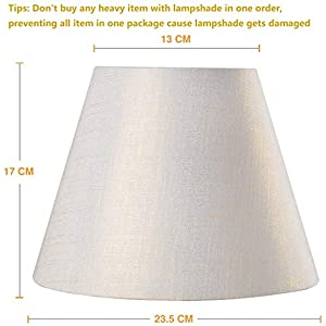 Lamp Shade IMISI Linen Fabric White Lamp Shade Small 5″ Top Diameter x 9″ Bottom Diameter x 7″ Tall (White with Gold Threads)