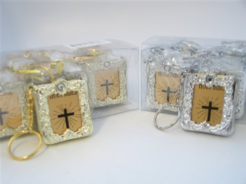 Bible Keychain Key Chain Religious Favor - English - Gold (12 Pack)