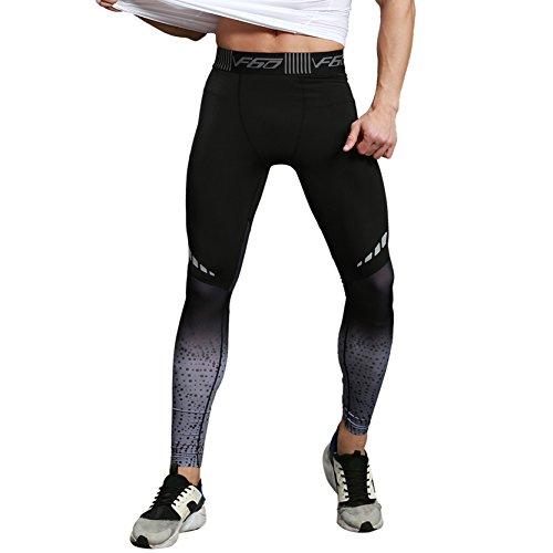SEVENWELL Men's Base Leggings HeatGear Workout Printed Compression Leggings Tights Black+Gray M(US)=Tag XL