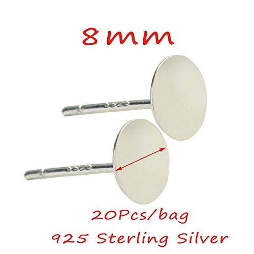 (Laliva 20pcs/Bag 925 Sterling Silver Earrings Settings 3/4/5/6mm Blank Round Base Cabochon Stud Ear Flat Base Posts Pure Silver Earring - (Color: 8mm Flat Pad))