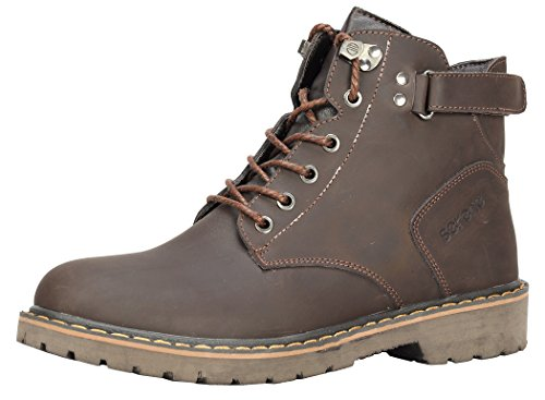 Serene Mens Winter Style Leather Warm Fur Lining Velcro Combat Boots