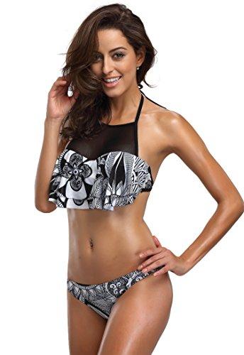 FanShou Women Ruffles Halter High Neck Bikini Top Two Piece Floral Mesh Swimsuits Black (Mesh Ruffle Halter Top)