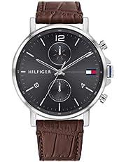 ساعة يد بمينا رمادي وسوار جلدي بني للرجال من تومي هيلفجر - 1710416