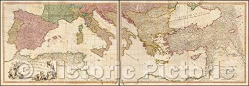 Historic Map - Mediterranean Sea with the Adjacent Regions and Seas in Europe, Asia and Africa. London: Printed for W. Faden, Geographer to the King, 1785 v1 69in x 24in