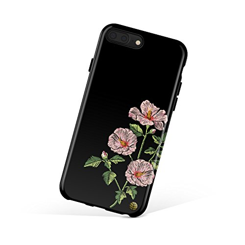 Hibiscus Embroidery (Akna iPhone 8 Plus/iPhone 7 Plus case for girls, Collection Flexible Silicon Cover for both iPhone 7 Plus & 8 Plus [Embroidery Hibiscus](725-U.S))