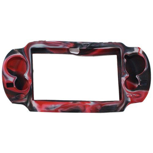 Silicone Case Cover For Sony PlayStation Vita Camo Black And Red - 5