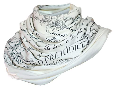 Literati Club Pride and Prejudice Book Scarf,Ivory,One Size
