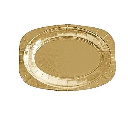 Générique 3 bandejas de cartón ovaladas Dorado 24 x 35 cm