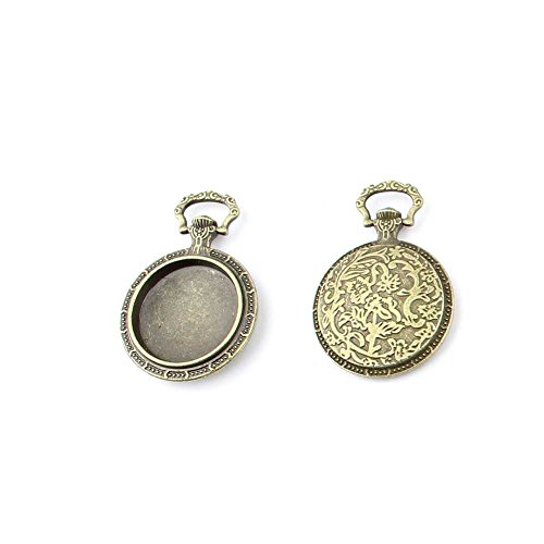 (10 pieces Anti-Brass Fashion Jewelry Making Charms 3203 pocket watch Setting Cabochon Frame Wholesale Supplies Pendant Craft DIY Vintage Alloys Necklace Bulk Supply Findings Loose)