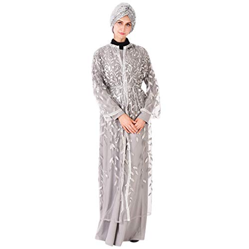 Muslim Dress for Women Lace Trimmed Front Abaya Muslim Maxi Kaftan Kimono Party Dress Gray