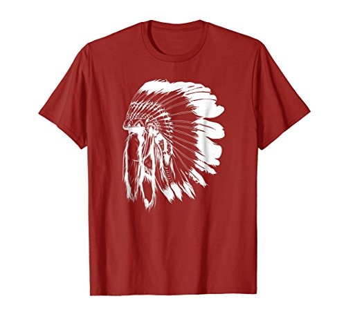 Mens Native American Feather Headdress Tee Native Indian T Shirt Medium Cranberry