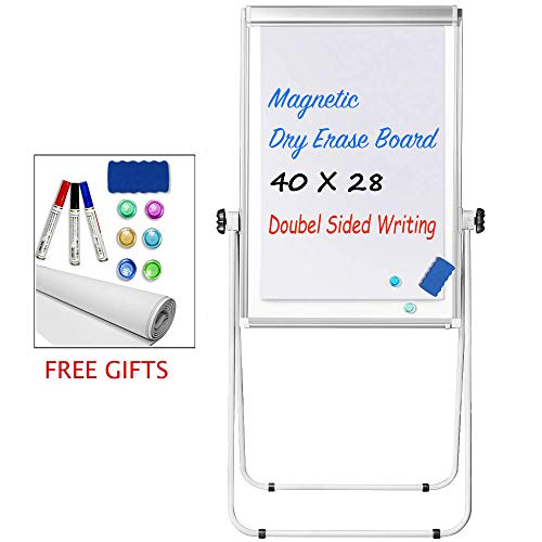Stand White Board - 40x28 Magnetic Dry Erase Board w/Flipchart Pad Double Sided Easel Board Portable Whiteboard Silver ()