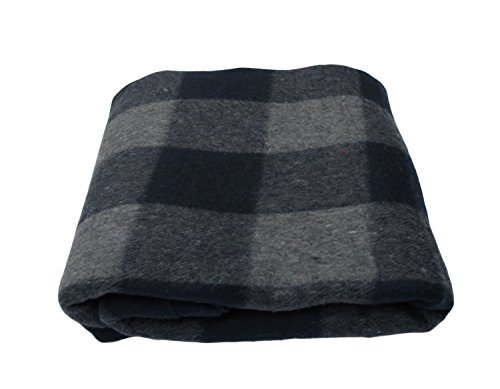 (Gilbin Super Soft and Warm Wool Blanket - Twin Size (Grey/Navy) )