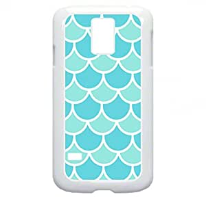 Blue Scallops- Case for the Galaxy S5 i9600-Hard White Plastic Case