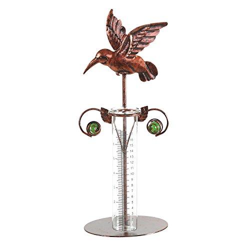 "CEDAR HOME Rain Gauge Outdoor Garden Wireless Glass Brass Metal Tabletop Cute Professional Raingauge for Lawn Yard Patio Decor 8oz, 7"" W x 6"" D x 16"" H, Copper Bird"