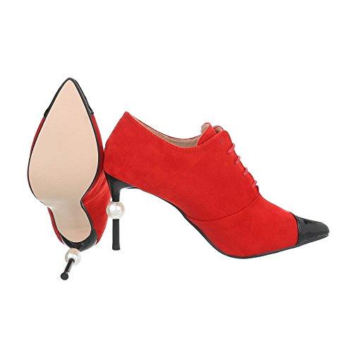 Zapatos para mujer Botas Tacón de aguja Botines al tobillo Ital-Design Rojo G-19
