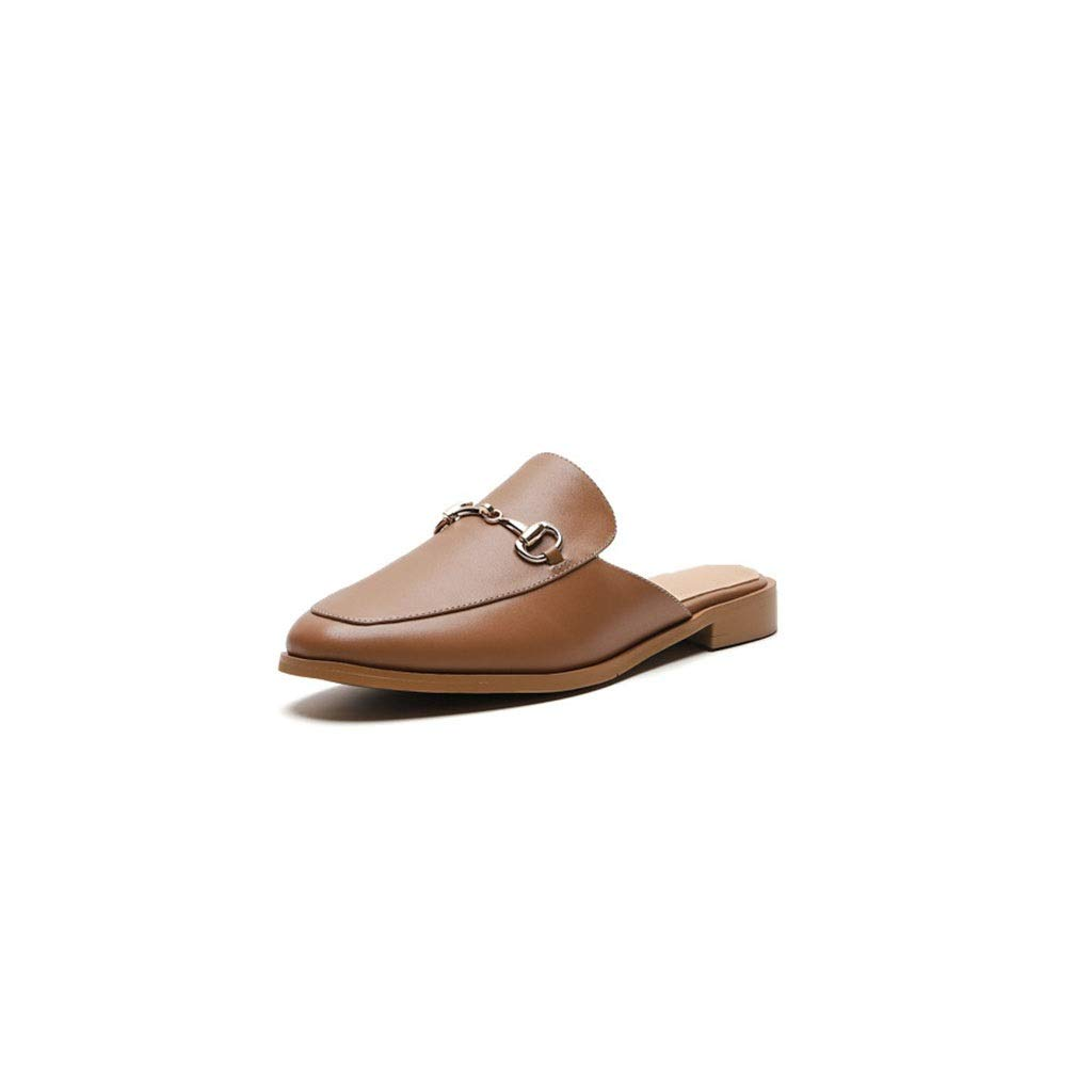 Brown Fashion Casual Women's Flat shoes Baotou Sandals Summer Decoration Comfortable Beach Slippers (color   Brown, Size   6 US)