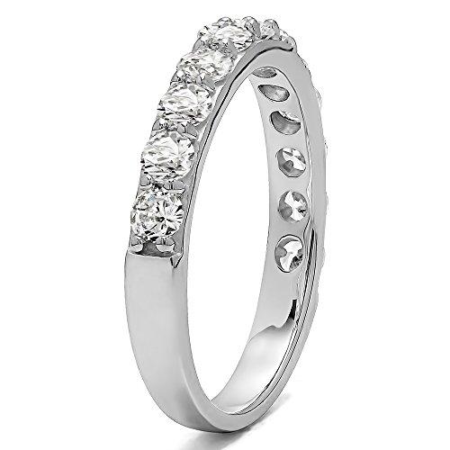 TwoBirch .48Ct Twelve Stone Round Pave Wedding band 14k Rose Gold Diamonds (G H,SI2 I1)(Size 3 to 15 1/4 Sizes)