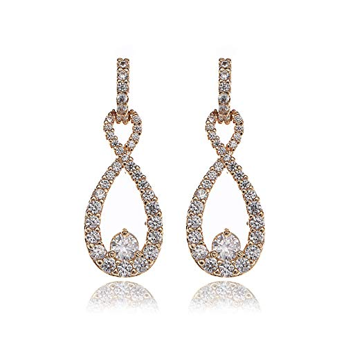 Zirconia Drop Cubic Champagne - Teardrop Dangle Earrings for Wedding - 14k Yellow Gold Plated Sterling Silver Cubic Zirconia Crystal Rhinestone Infinity Pierced Hypoallergenic Lightweight Earrings for Women Bridal Jewelry
