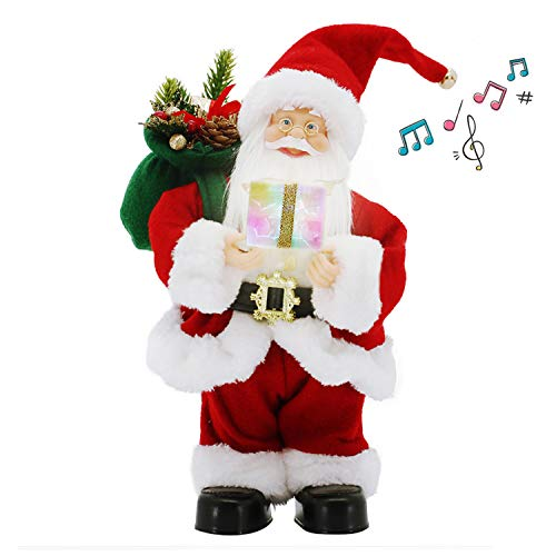 "CHENGMON 12"" Inch Christmas Santa Claus with Music Animated Standing Led Colorfuls Lighting Singing and Dancing Red Figure Collection Decoration Traditional Ornament Electric with Battery Operated"