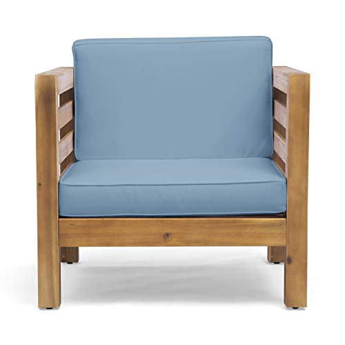Louise Outdoor Acacia Wood Club Chair with Cushion, Teak Finish and Blue (Outdoor Finishes Teak Furniture For)