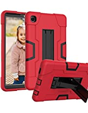 HAII Case for Samsung Galaxy Tab A7 Lite T220/T225, Full Body Rugged Kids Case with Kickstand Heavy Duty Shockproof Drop-Proof Protection Cover for Samsung Galaxy Tab A7 Lite 2021 (Red Black)