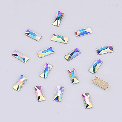 Cosmic Baguette Flatback Rhinestone 3x7mm Nail Crystal AB Stone For Nails Art Decoration 30pcs