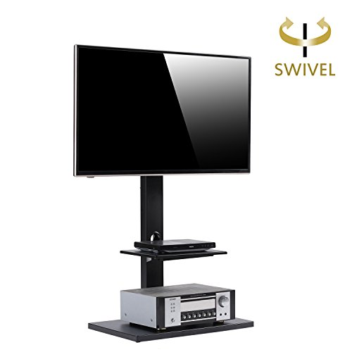 Chrome Wide Tv Stand (RFIVER Floor TV Stand with Universal Swivel Bracket Mount and Two Shelves for 32 to 65 Inches Plasma/LCD/LED TVs-TF1001)