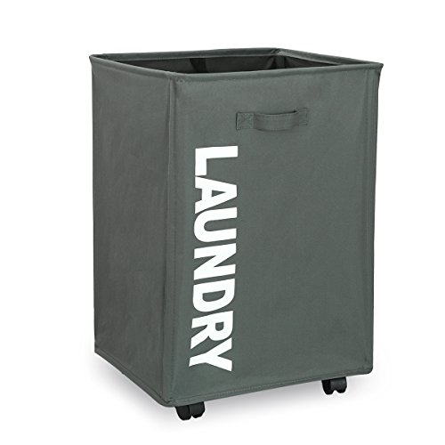 WISHPOOL Rolling Slide Foldable Laundry Hamper Laundry Basket Bin with Mesh Wheels Waterproof Dirty Clothes Hamper Bag (Grey)