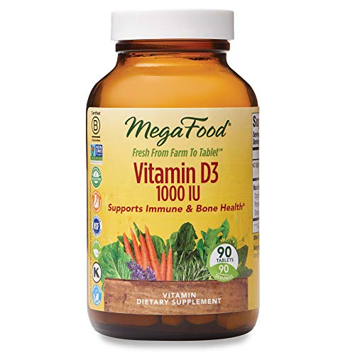 MegaFood, Vitamin D3 1000 IU, Immune and Bone Health Support, Vitamin and Dietary Supplement, Gluten Free, Vegetarian, 90 tablets (90 servings) from MegaFood