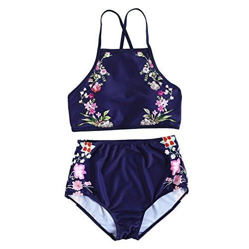 Maillots de Bain 2 Pièces Bikini à Bretelle À Lacets Taille Haute Plage Piscine Bikinis Dos Nu Noir