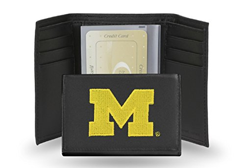 Michigan Wolverines Embroidered Leather Tri-Fold Wallet - Leather Michigan Wolverines Wallet
