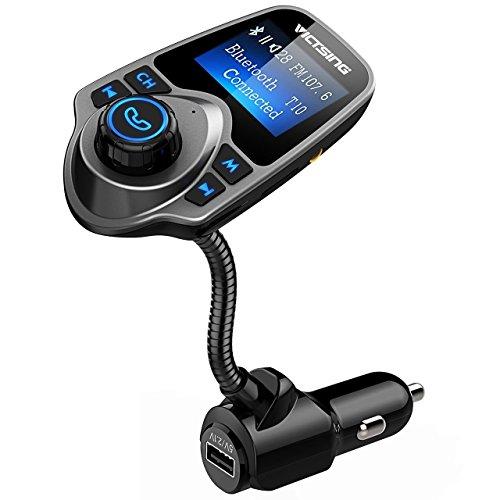 VicTsing Transmisor FM Bluetooth con Manos Libres de MP3 Cargador de DVD con Audio de 3.5mm Mic Puerto, Ranura para Tarjeta...