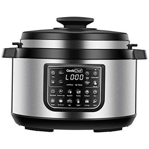 (Geek Chef 8 quart OVAL shape multi-functional electric pressure cooker.New technology,designed with non stick oval inner pot, cool-touch handles, EZ-Lock,slower cooker,rice cooker combination)
