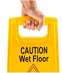 2 Pack ABCO Products 2-Sided Wet Floor Caution Sign English / Spanish, Yellow, 24-Inch by 12-Inch Fold Up, Plastic