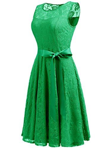Dressystar sans soire de Robe Femme Manches Ceinture Une Bal Vert Vintage Dentelle Iqrgaq0wn